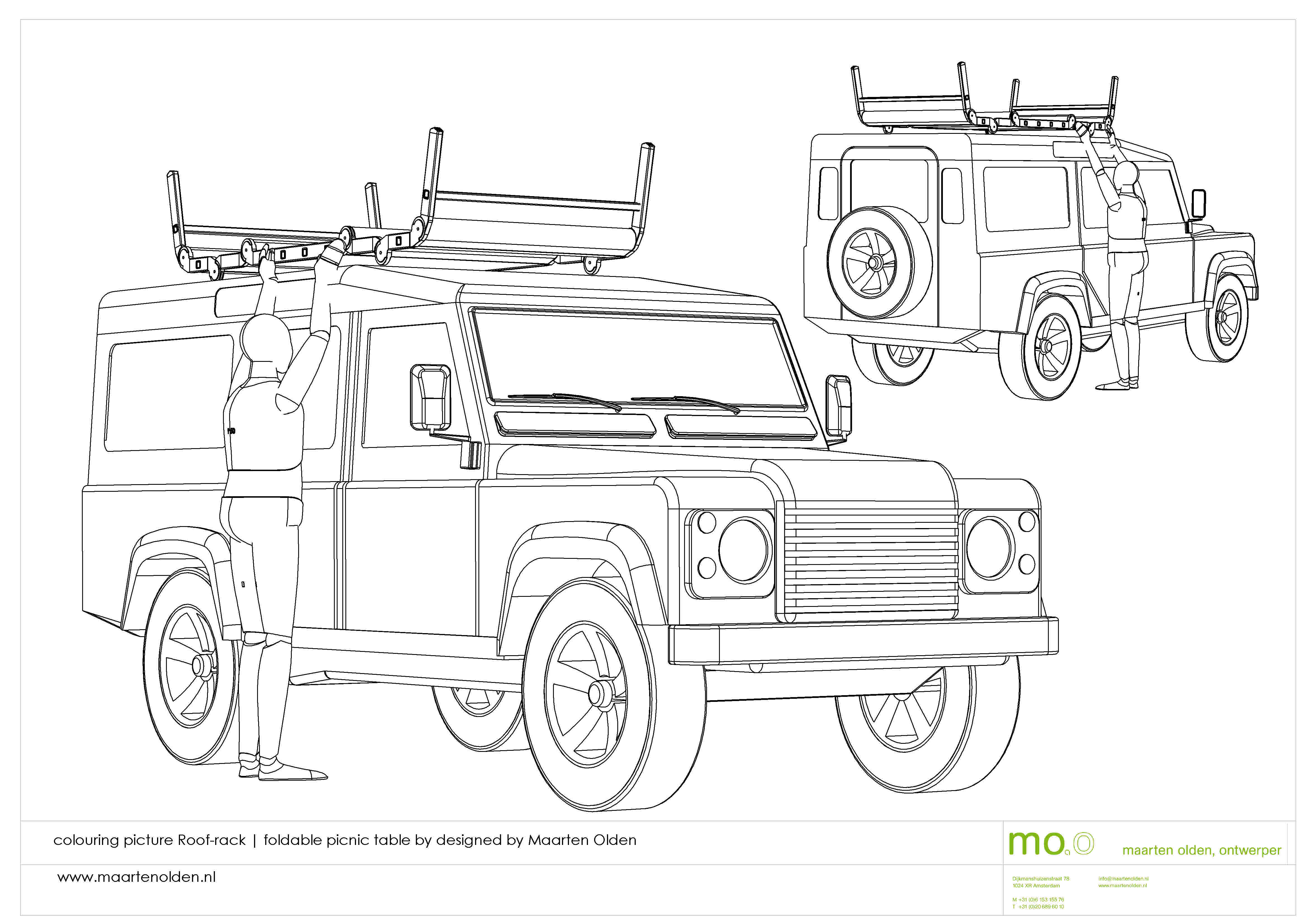 colouring picture landrover with roof-rack by maarten olden