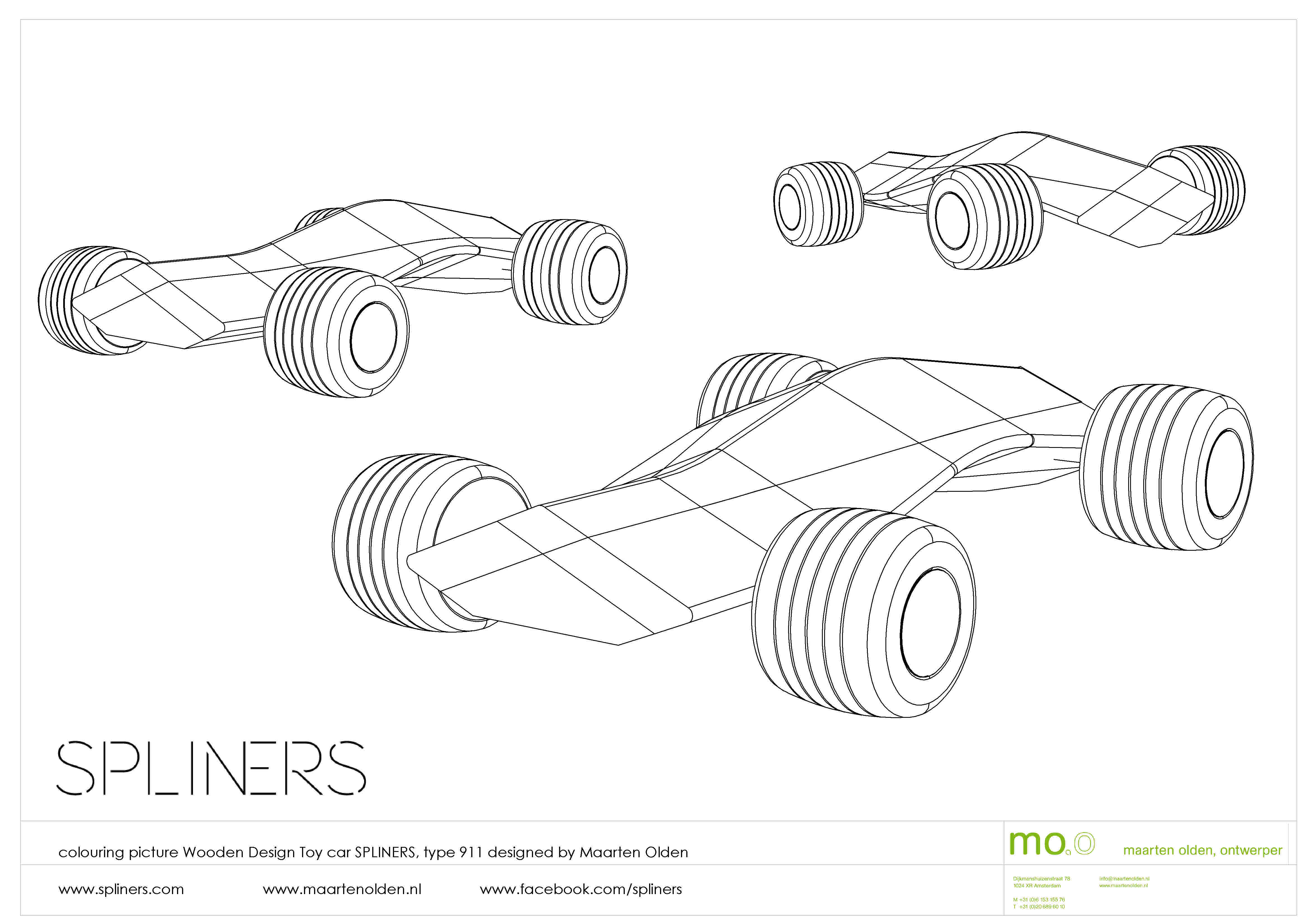 colouring picture spliners 911 wooden toy car by maarten olden